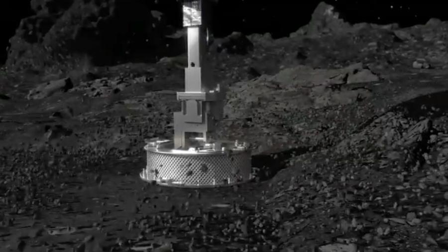 Sonda Osiris-Rex toca a superfície do asteroide Bennu - Reprodução/Nasa