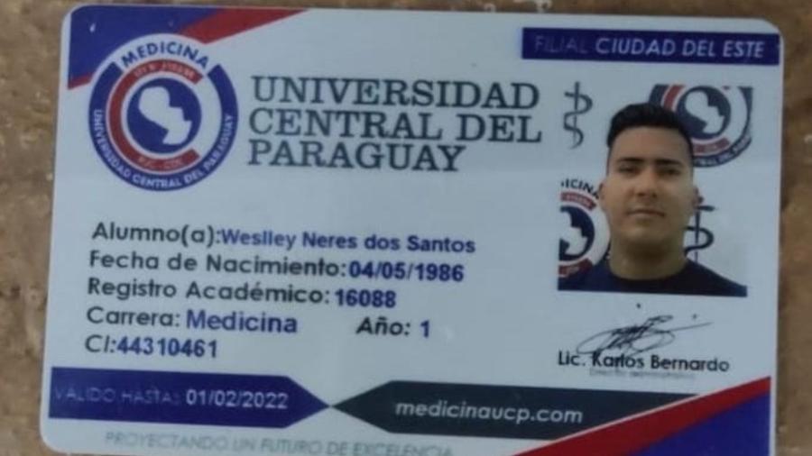 Carteira de identificação de faculdade usada por Bebezão - Divulgação/Senad