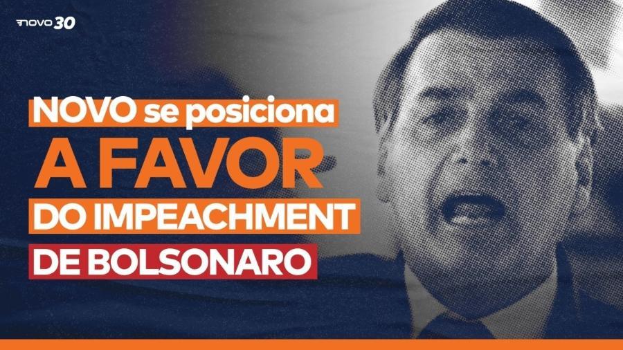 Partido Novo divulgou nota afirmando ser a favor do impeachment de Jair Bolsonaro - Reprodução/Partido Novo