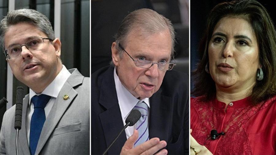 Apostando em holofote de CPI, os senadores Alessandro Vieira (Cidadania-SE), Tasso Jereissati (PSDB-CE) e Simone Tebet (MDB-MS) despontam como presidenciáveis em 2022 - Arte/UOL