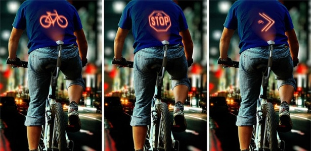 Gadget conceito para bicicletas exibe sinalização nas costas do condutor para evitar acidentes - Reprodução/behance.net
