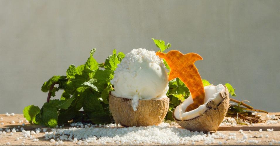 A Boto Sorveteria Artesanal abriu suas portas em março de 2016 em Santarém (PA) e vende sorvetes naturais, sem produtos químicos, com sabores como tapioca com coco (foto), creme de cumaru, pirarucu defumado e taberepá