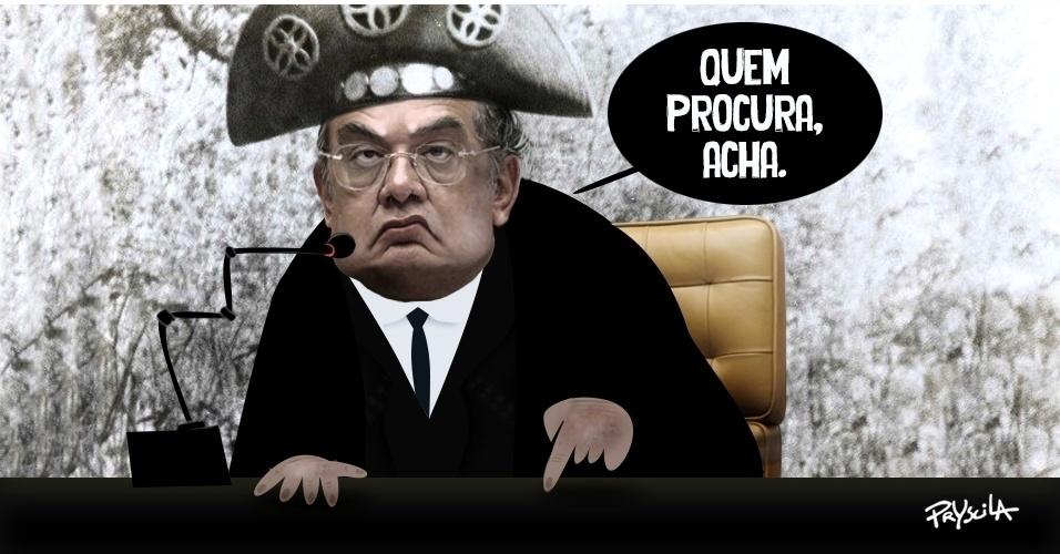 """24.ago.2016 - O ministro Gilmar Mendes, do STF (Supremo Tribunal Federal), criticou procuradores da Lava Jato e disse que """"o cemitério está cheio desses heróis"""""""