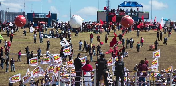 Centrais protestaram em frente ao Congresso em julho, quando Senado votou a reforma