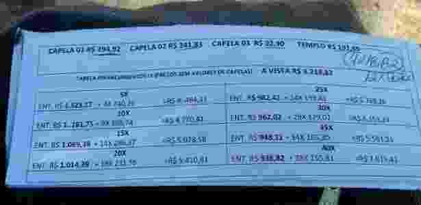 Orçamento para o enterro de Miguel, filho de Angélica Ribeiro  - Arquivo pessoal - Arquivo pessoal