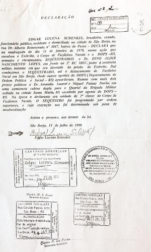 Declaração oficial, registrada em cartório, em que o ex-fuzileiro naval Edgar Lucena admite participação em sequestro do preso político Dino Lopes, em janeiro de 1970