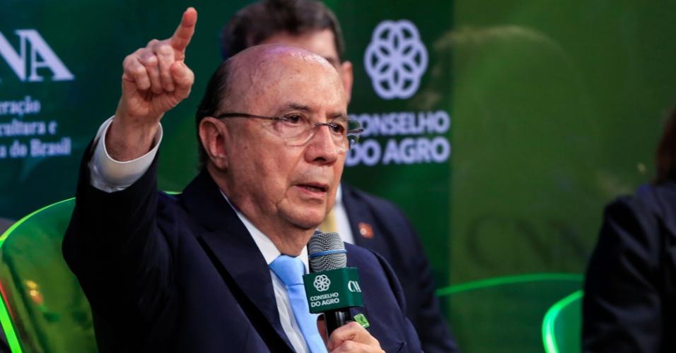 29.ago.2018 -  O presidenciável Henrique Meirelles (MDB) durante sabatina promovida pela CNA (Confederação Nacional da Agricultura)