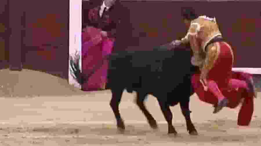 Gonzalo Caballero foi atingido na coxa por touro, está hospitalizado e corre risco de morrer - Reprodução/Twitter