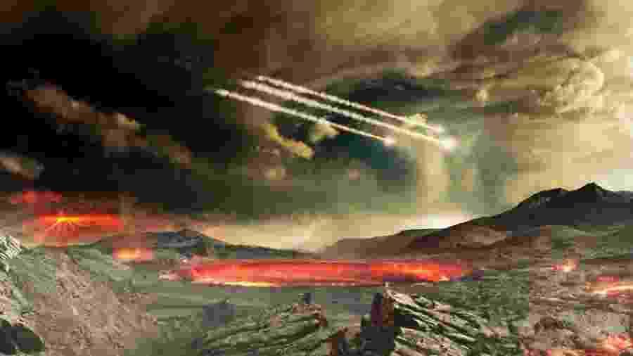 """Um artista da Nasa ilustra como teria sido o bombardeio de meteoritos na Terra - NASA""""s Goddard Conceptual Image Lab"""