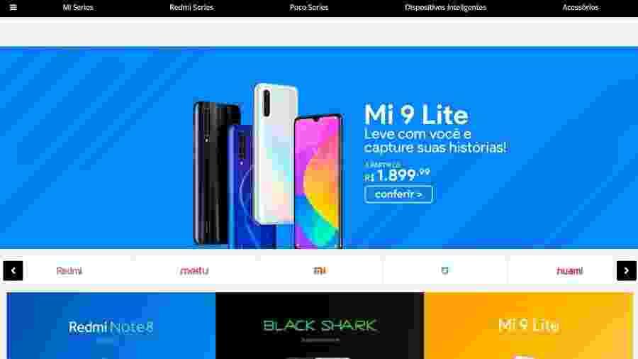 Tela inicial da loja online Mi Store Brasil, que encerrou atividades com encomendas não entregues - Reprodução