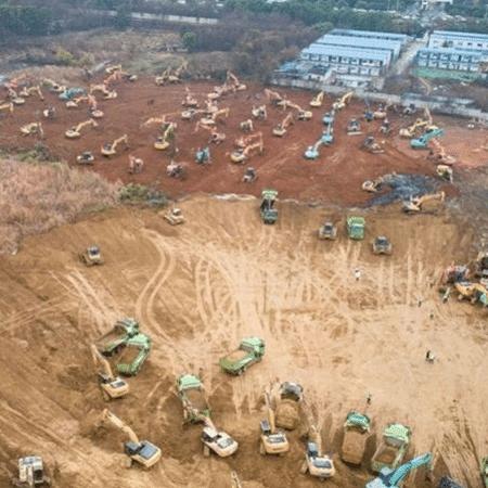 Hospital está sendo construído em Wuhan para tratar pacientes com coronavírus - Reprodução/Twitter/Xinhua