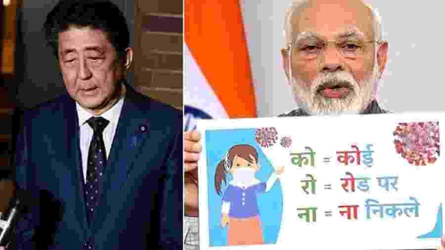 Shinzo Abe, primeiro-ministro do Japão, anuncia adiamento da Olimpíada;  Narendra Modi, seu homólogo da Índia, impõe a maior quarentena da Terra: 1,3 bilhão de pessoas em casa por três semanas. No mesmo dia, Bolsonaro, o gênio do planeta, pede que brasileiros saiam às ruas ou se juntem à vontade - Fotos: Charly Triballeau/Reuters; ANI