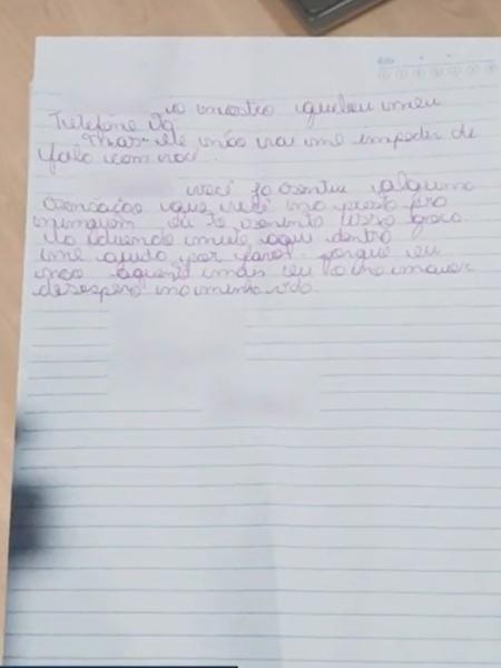 Garoto pediu ajuda para vizinhos em carta - Reprodução/TV Anhanguera