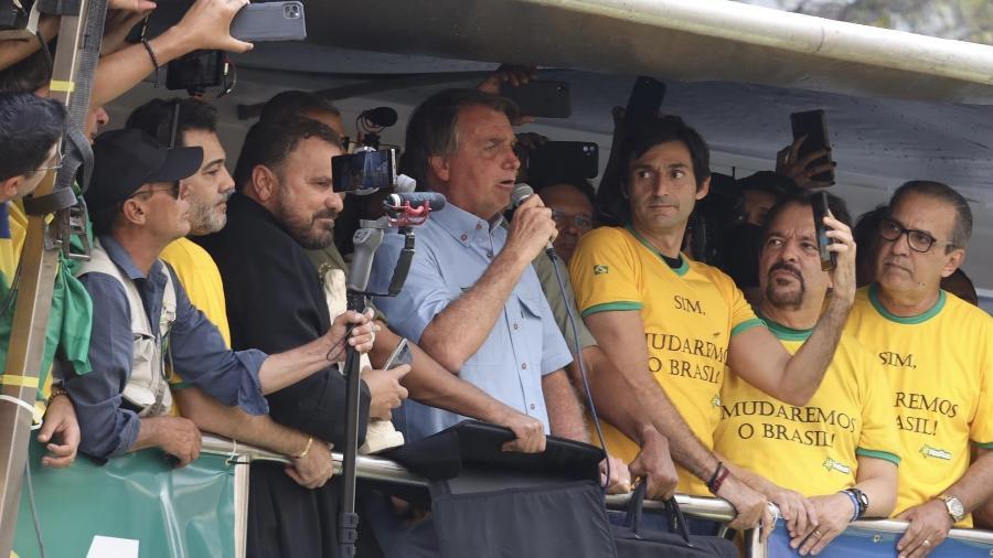 7.set.2021 - O presidente Jair Bolsonaro durante ato a favor do governo na avenida Paulista, na cidade de São Paulo - DANILO M YOSHIOKA/ESTADÃO CONTEÚDO