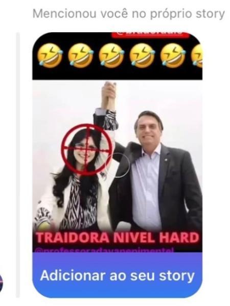 Eduardo Bolsonaro compartilha foto que mostra deputada com alvo no rosto - Reprodução/Instagram/professoradayanepimentel
