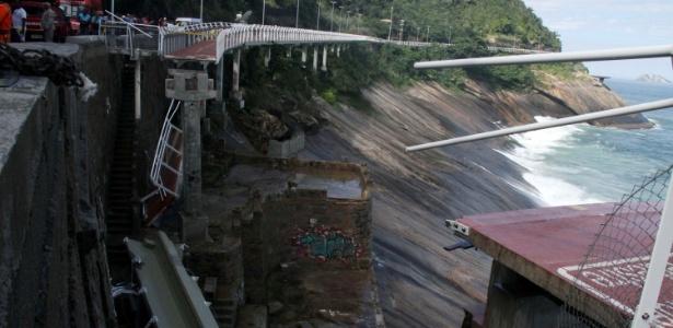Trecho da ciclovia Tim Maia, na avenida Niemeyer, no Rio, desabou no último dia 21
