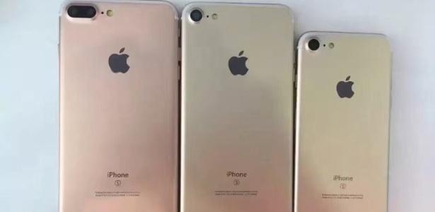 Foto vazada mostra parte traseira dos supostos novos modelos do iPhone: o 7, 7 Plus e 7 Pro