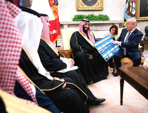20.mar.2018 - Donald Trump se encontra com o príncipe Mohammed bin Salman da Arábia Saudita, no Salão Oval da Casa Branca, em Washington,