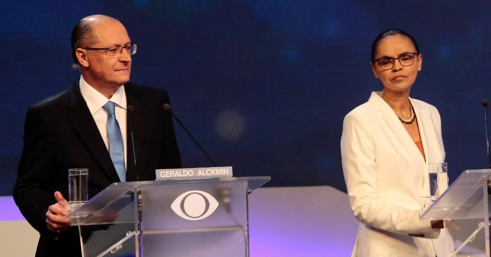 9.ago.2018 - Os candidatos a presidência da república Geraldo Alckmin e Marina Silva durante o debate promovido pelo Grupo Bandeirantes de Comunicacão, na noite desta quinta-feira