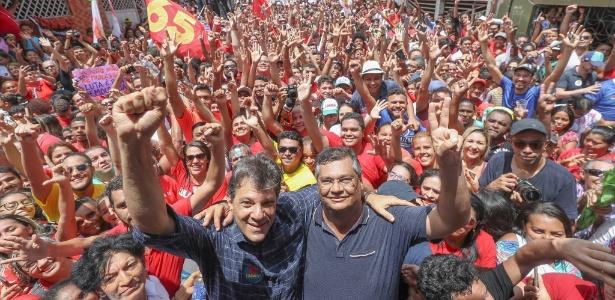 Haddad e o governador do Maranhão, Flávio Dino (PCdoB), em ato de campanha em São Luís