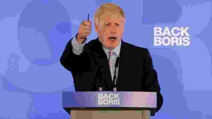 Conservador Boris Johnson durante lançamento de sua candidatura como primeiro-ministro - Tolga Akmen/AFP