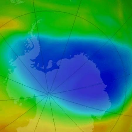 Ilustração mostra o buraco na camada de ozônio em outubro de 2019; segundo a Nasa, a redução não é um sinal de que o ozônio atmosférico esteja em um caminho de recuperação rápida - NASA