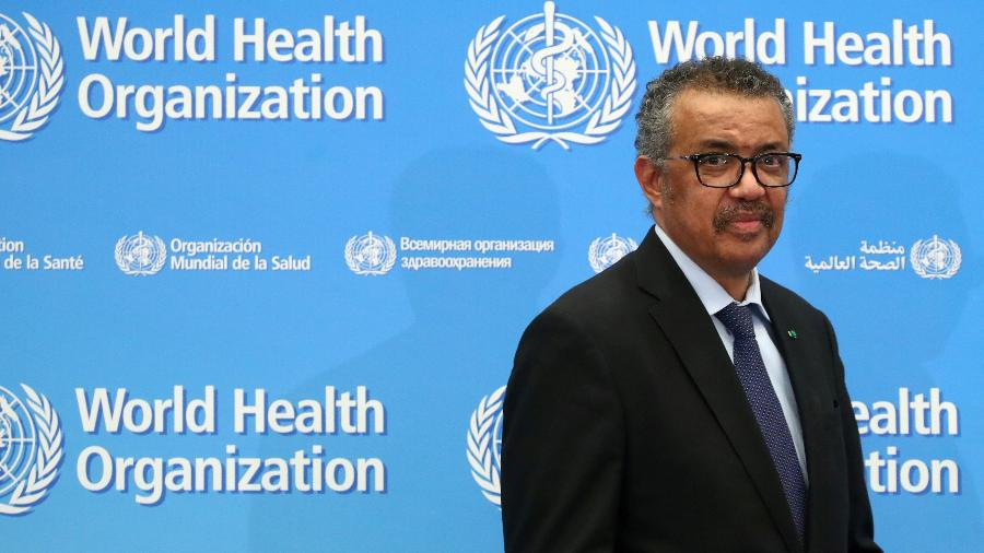 Diretor-geral da Organização Mundial da Saúde, Tedros Adhanom Ghebreyesus, durate entrevista coletiva em Genebra -