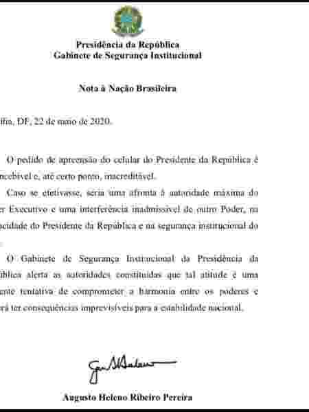 Nota do general Augusto Heleno - Reprodução - Reprodução