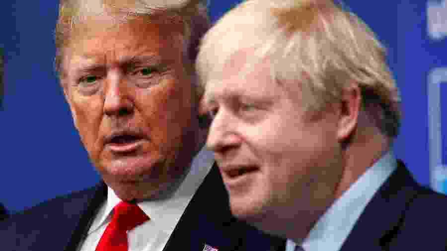 Presidente dos EUA, Donald Trump, e premiê britânico, Boris Johnson, em Watford -