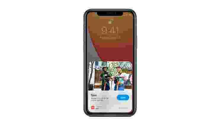 iOS 14: os App Clips foram pensados pela empresa para ser rápidos e fáceis de usar, permitindo que os usuários usem um aplicativo no momento em que precisam - Divulgação - Divulgação