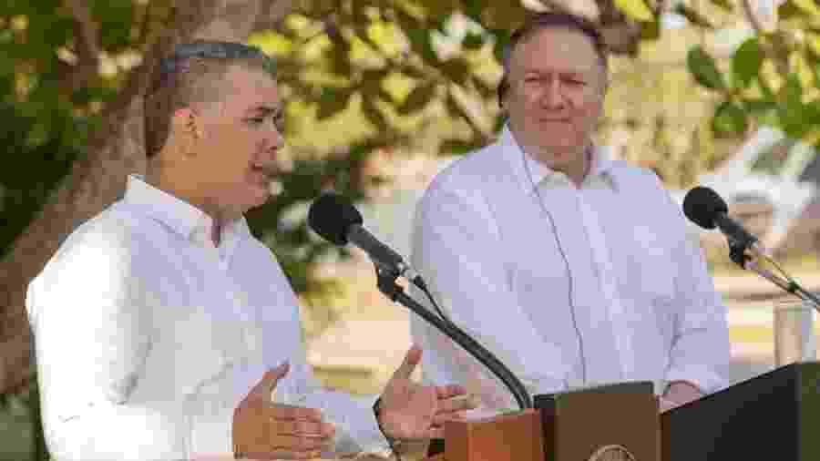 O presidente da Colômbia, Iván Duque, e o secretário de Estado dos EUA, Mike Pompeo - NICOLAS GALEANO/Presidência da Colômbia / AFP