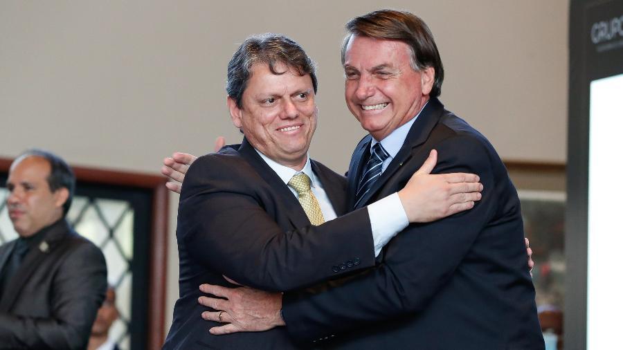 Ministro da Infraestrutura, Tarcísio Gomes de Freitas, ao lado do presidente Jair Bolsonaro (sem partido) - Alan Santos/PR