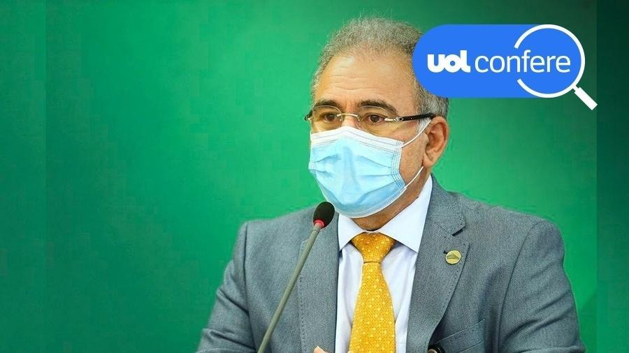 O ministro da Saúde, Marcelo Queiroga, usou um número mais do que o dobro maior de pessoas imunizadas no país com duas doses de vacina contra covid - Arte/UOL