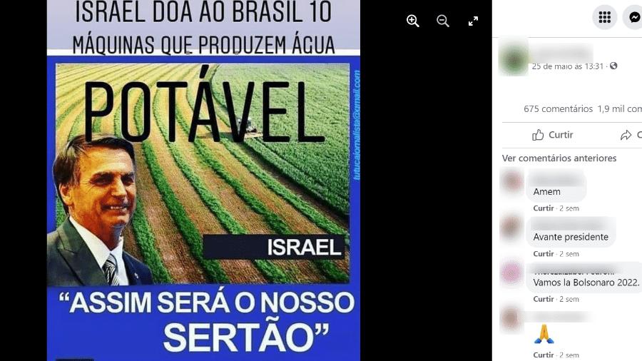 14.jun.2021 - Posts inflam impacto de doação de máquinas israelenses que produzem água para exaltar Bolsonaro - Reprodução/Facebook
