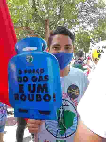 Protesto contra preço do gás em ato contra Bolsonaro em Fortaleza - Divulgação - Divulgação
