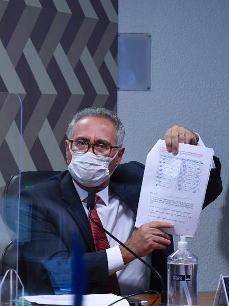 30 set. 2021 - Senador Renan Calheiros (MDB-AL), relator da CPI da Covid, em ação em oitiva na comissão - Edilson Rodrigues/Agência Senado