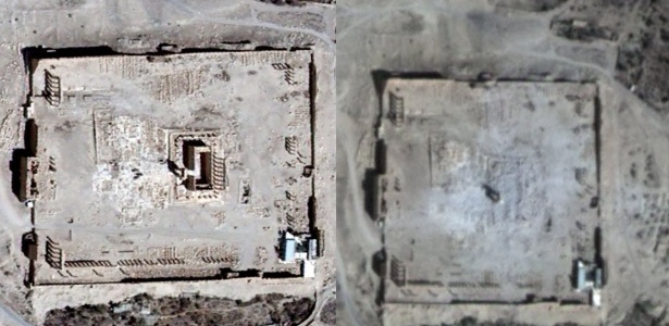 Imagens de satélite confirmam que o templo de Bel, o mais importante do sítio arqueológico da cidade de Palmira, na Síria, foi destruído