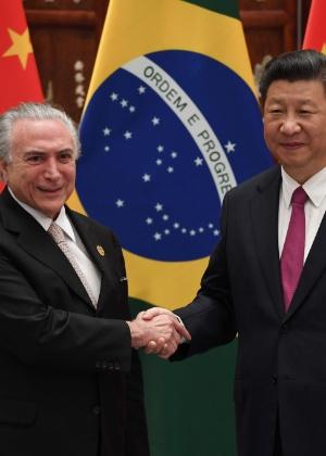 Michel Temer e o presidente da China, Xi Jinping, durante encontro em Xangai