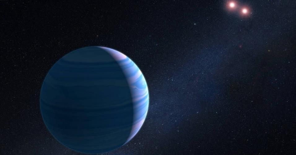 22.set.2016 - A Nasa anunciou a descoberta de mais um planeta em nosso vasto Univverso. Com o auxílio do telescópio Hubble e um truque da natureza, a agência confirmou a existência de um planeta orbitando duas estrelas em um sistema a 8 mil anos-luz da Terra. O achado representa a primeira vez que um sistema deste tipo é identificado com o auxílio da microlente gravitacional. Tal efeito é um fenômeno astronômico que ocorre quando a gravidade de uma estrela em primeiro plano amplifica a luz de uma estrela de fundo que momentaneamente se alinha com ela. A ampliação da luz pode revelar pistas sobre a estrela em primeiro plano e planetas ao redor