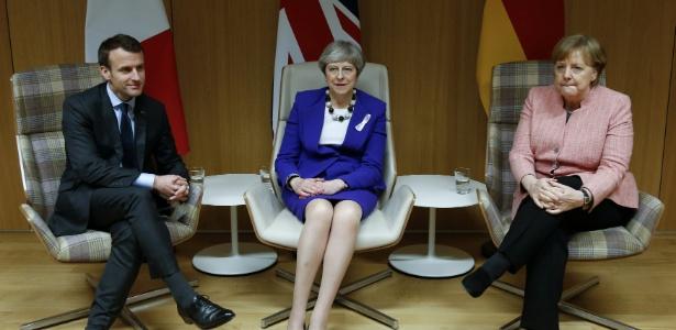 Macron, May e Merkel durante reunião em Bruxelas, em março - François Lenoir - 22.mar.2018/Reuters