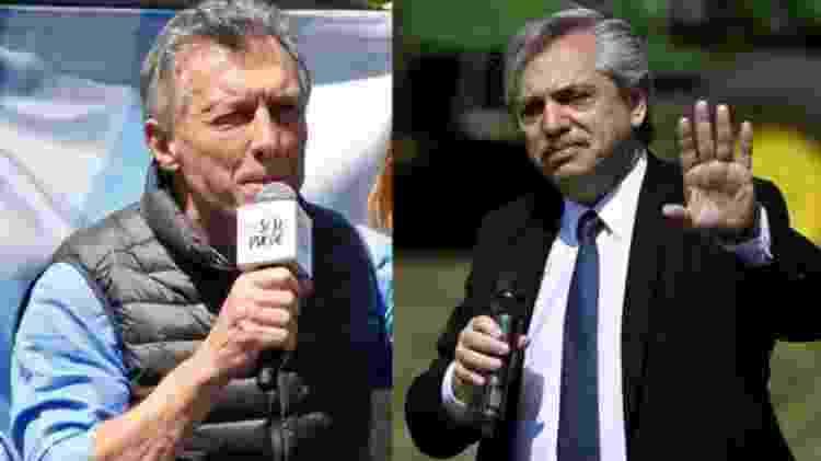Os dois principais candidatos: Mauricio Macri (à esq.) e Alberto Fernández (à dir.) - AFP - AFP