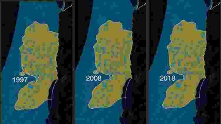 Um mapa dos assentamentos israelenses na Cisjordânia entre 1997-2018 - BBC - BBC