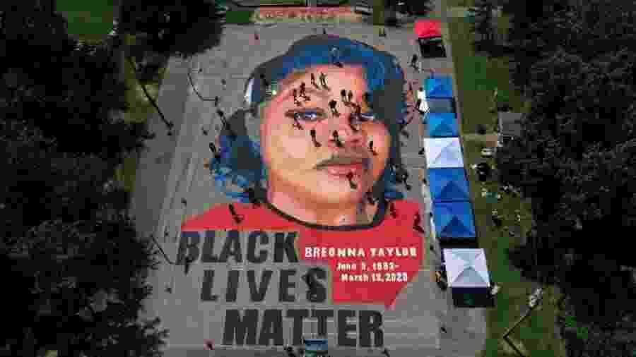 Mural em homenagem a Breonna na cidade de Annapolis, no estado de Maryland - Patrick Smith/Getty Images