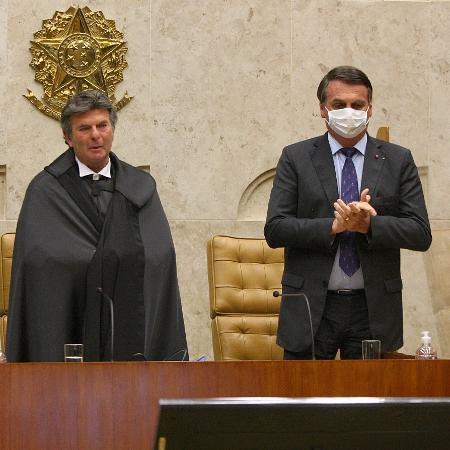 Fux, Bolsonaro e Maia na sessão de posse do ministro na Presidência do STF - Nelson Jr./SCO/STF