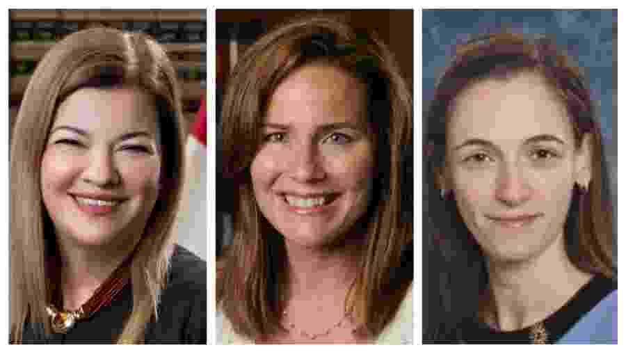 Segundo imprensa americana, estão no páreo para substituir RBG Barbara Lagoa, Amy Coney Barrett e Kate Comerford Todd (da esq. para a dir.) - BBC