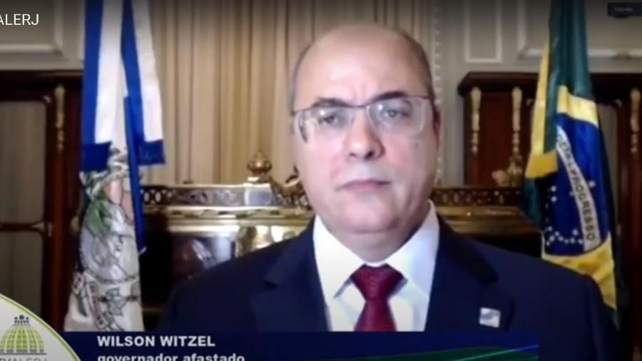 Governador afastado Wilson Witzel (PSC-RJ) durante defesa por videoconferência na Alerj - Reprodução/TV Alerj
