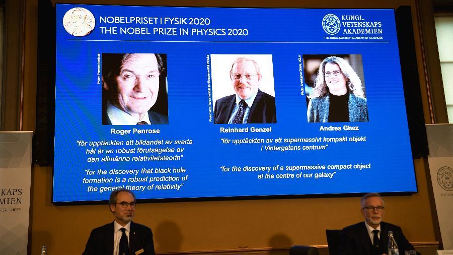 Roger Penrose, Reinhard Genzel e Andrea Ghez são anunciados como os vencedores do Nobel de Física de 2020 - News Agency/Fredrik Sandberg via Reuters