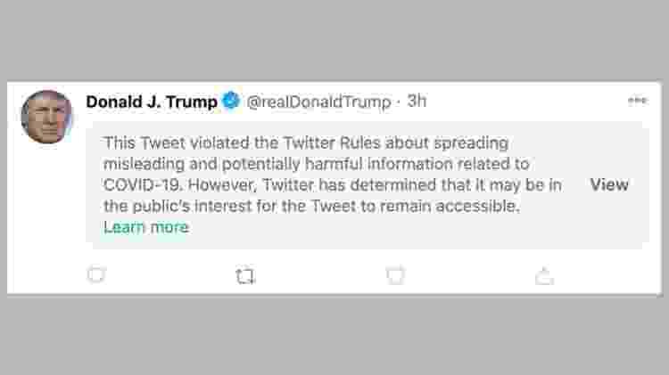 Usuários do Twitter tinham de clicar no aviso para ter acesso ao post - Twitter - Twitter