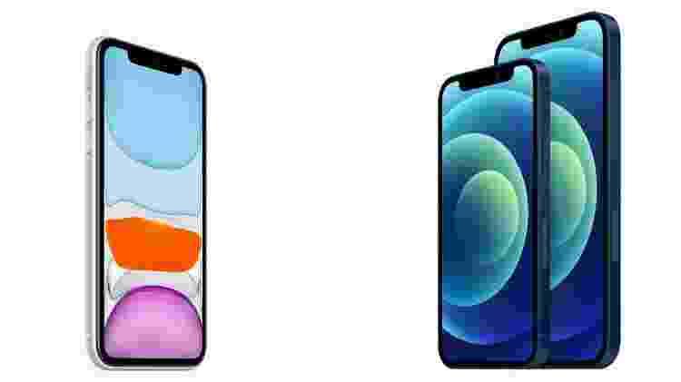 Design do iPhone 11 x design do iPhone 12 e 12 mini - Divulgação - Divulgação