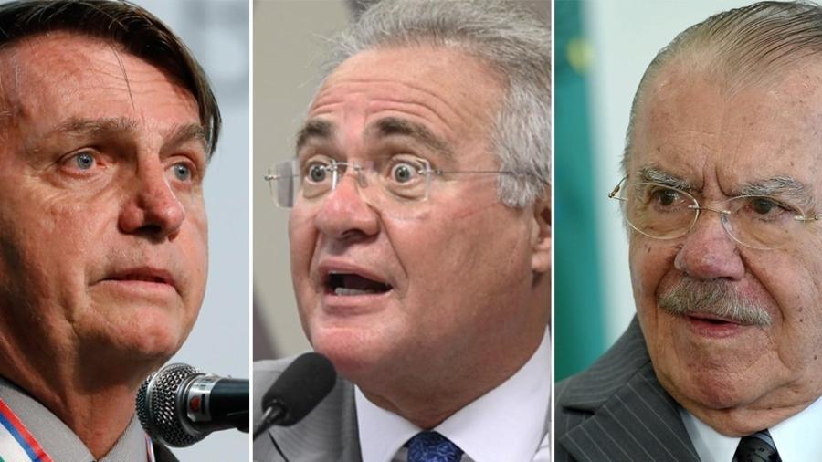 Montagem Bolsonaro, Renan e Sarney - Arte UOL